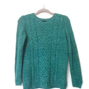 Talbots Green Cableknit Crewneck Wool Sweater Sm